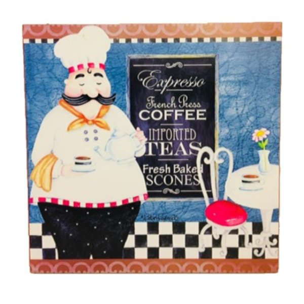 Placa Decorativa Chef Cozinheiro Mod. 7 Onyx Rizzo Confeitaria