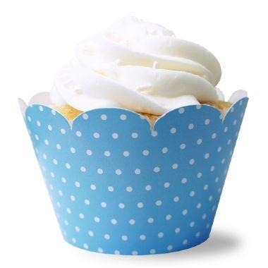 Wrapper para CupCake Pois Azul com 12 un. Miss Embalagens Rizzo Confeitaria