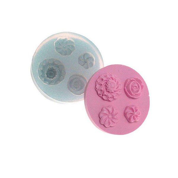 Molde de silicone Flores Ref. 44 Flexarte Rizzo Confeitaria