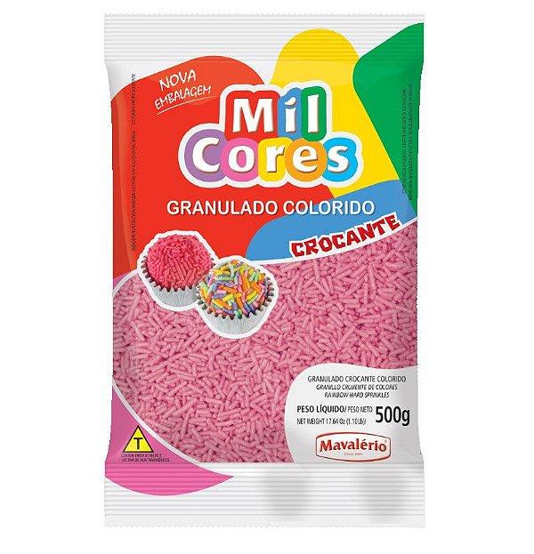 Granulado Crocante Rosa Aquarela 500 g Mil Cores Mavalério Rizzo Confeitaria