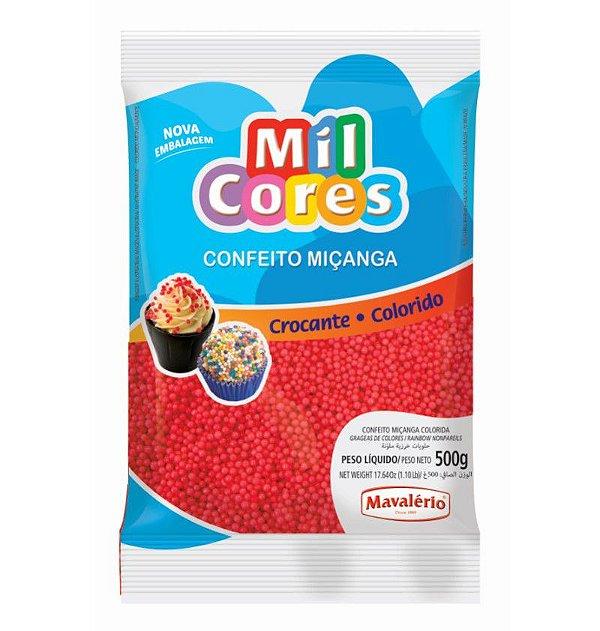 Confeito Miçanga Vermelha Nº 0 500 g Mil Cores Mavalério Rizzo Confeitaria