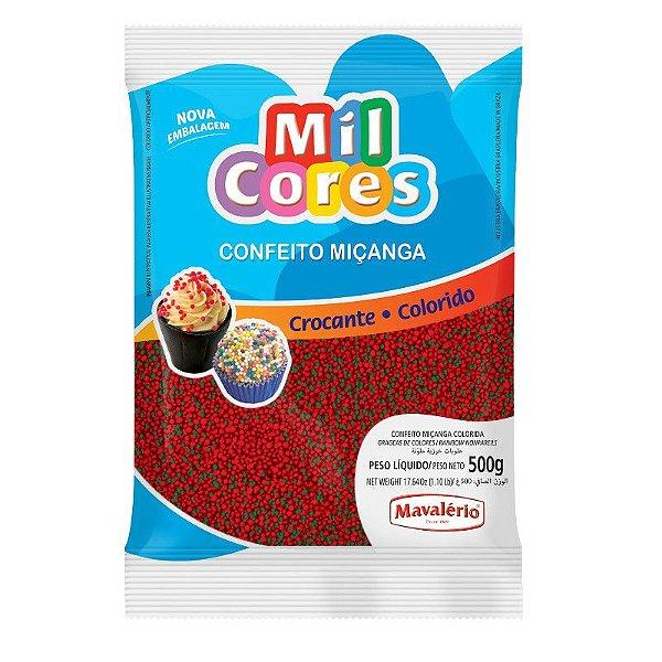 Confeito Miçanga Vermelha e Verde Nº 0 500 g Mil Cores Mavalério Rizzo Confeitaria