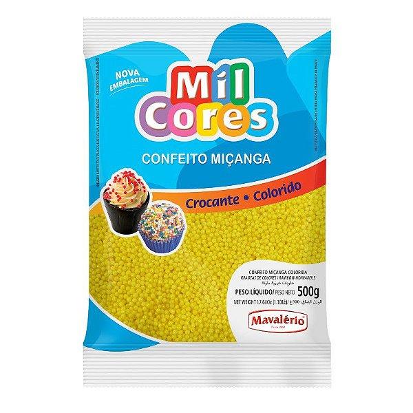 Confeito Miçanga Amarela Nº 0 500 g Mil Cores Mavalério Rizzo Confeitaria