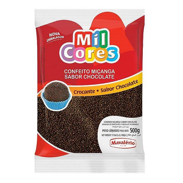 Confeito Miçanga Sabor Chocolate 500 g Mil Cores Mavalério Rizzo Confeitaria