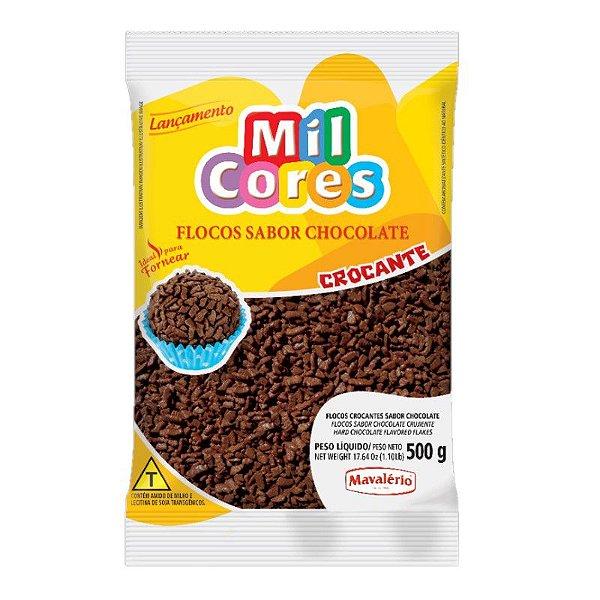Flocos Crocante Sabor Chocolate 500 g Mil Cores Mavalério Rizzo Confeitaria