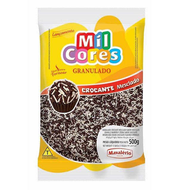 Granulado Crocante Mesclado Sabor Chocolate 500 g Mil Cores Mavalério Rizzo Confeitaria