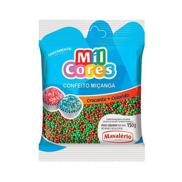 Confeito Miçanga Vermelha e Verde Nº 0 150 g Mil Cores Mavalério Rizzo Confeitaria