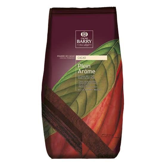 Chocolate em pó 100% Cacau Plein Arome 1 Kg Cacao Barry Rizzo Confeitaria