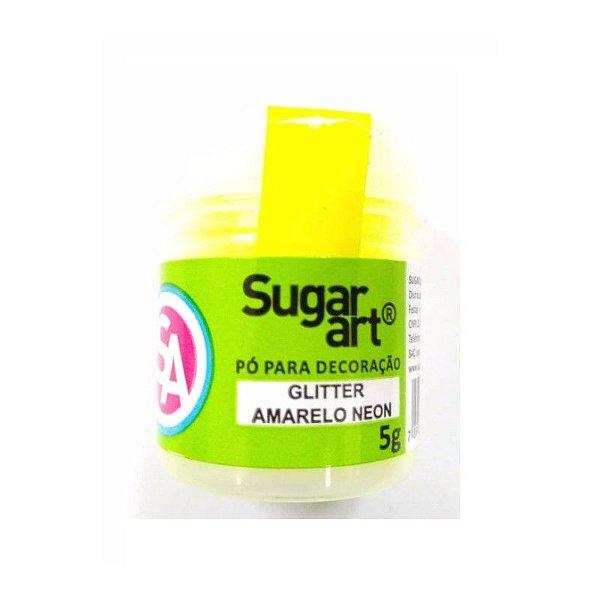 Pó para Decoração, Gliter Amarelo Neon 5g Sugar Art Rizzo Confeitaria