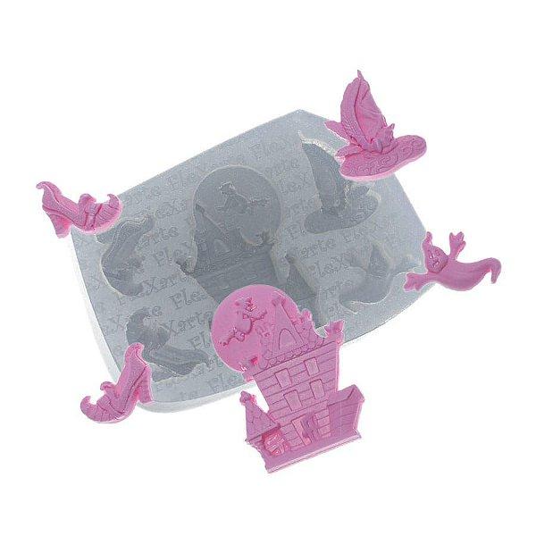 Molde de Silicone Halloween Castelo Ref. 201 Flexarte Rizzo Confeitaria