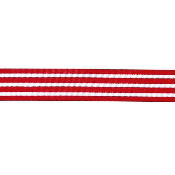Fita de Cetim Listra Branca e Vermelha GLR 005 Progresso Rizzo Confeitaria