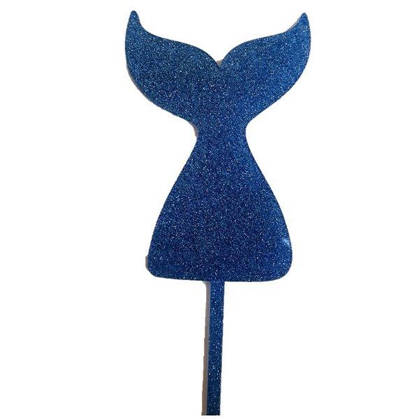 Topo de Bolo Cauda Sereia Azul Vivarte Rizzo Confeitaria
