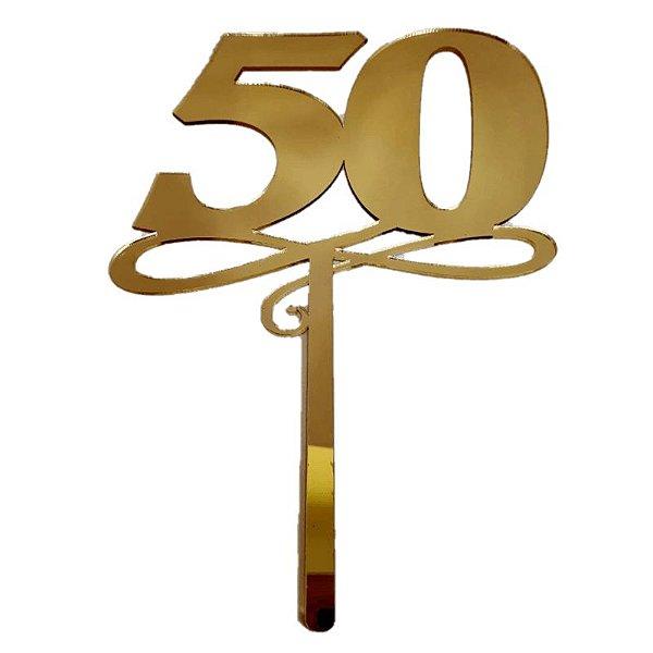 Topo de Bolo 50 Anos Vivarte Rizzo Confeitaria