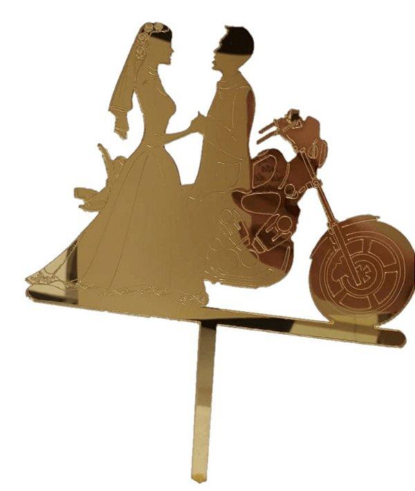 Topo de Bolo Noivos e Moto Vivarte Rizzo Confeitaria