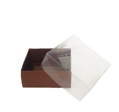 Caixa Nº 4 Marrom com Tampa Transparente 10 un. Assk Rizzo Confeitaria