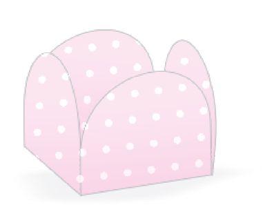 Forminha 4 Pétalas Poá Rosa e Branco Cod. 10.22 com 50 un. Nc Toys Rizzo Confeitaria