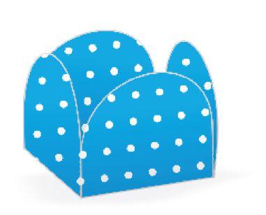 Forminha 4 Pétalas Poá Azul e Branco Cod. 10.18 com 50 un. Nc Toys Rizzo Confeitaria