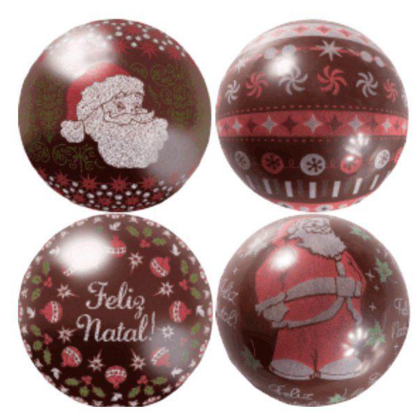 Blister Decorado com Transfer para Chocolate Bola de Natal 7cm BLN0073 Stalden Rizzo Confeitaria