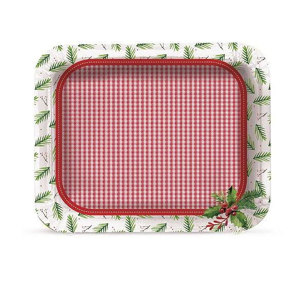 Bandeja Retangular Laminada Natal Tradição 40,3cm x 30,3cm  Cromus Rizzo Confeitaria