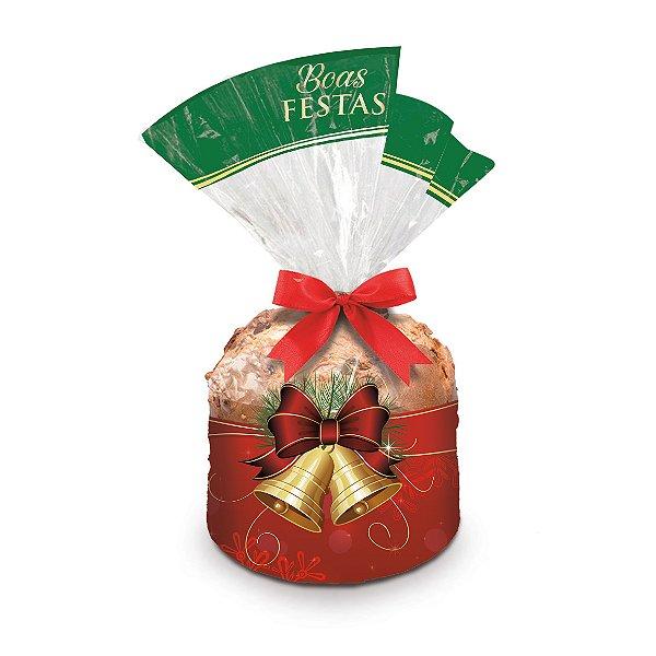 Saco para Panetone 500g Natal Tradicional 25cm x 35cm 100 unidades Cromus Rizzo Confeitaria