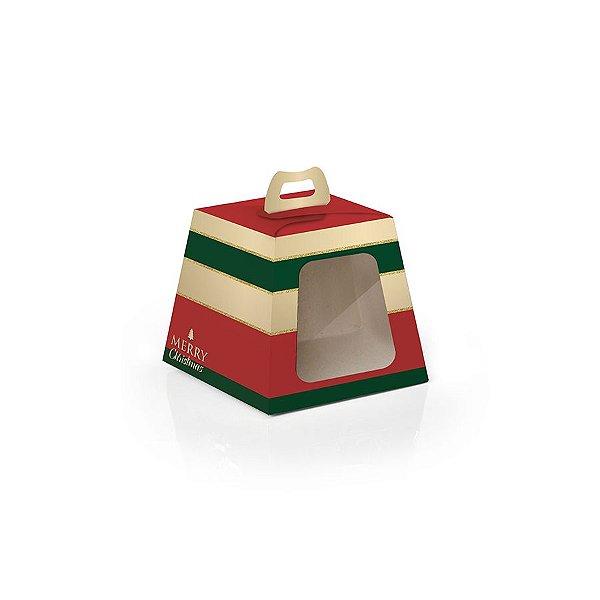 Caixa Mini Panetone 100g Natal Sofisticado 10 unidades Cromus Rizzo Confeitaria