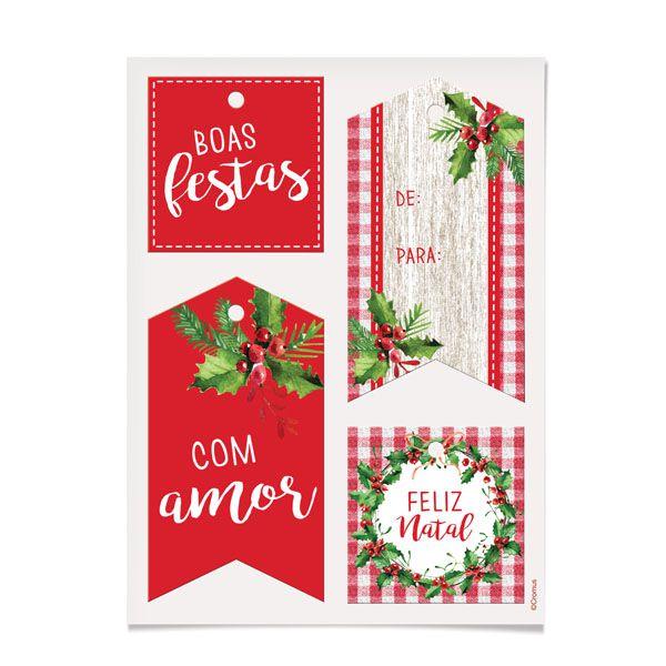 Tag Decorativa Natal Tradição 12 unidades Sortida Cromus Rizzo Confeitaria