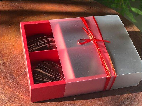 Caixa Pão de Mel 15,5X15,5X5 Vermelha com 4 divisões Rizzo Confeitaria