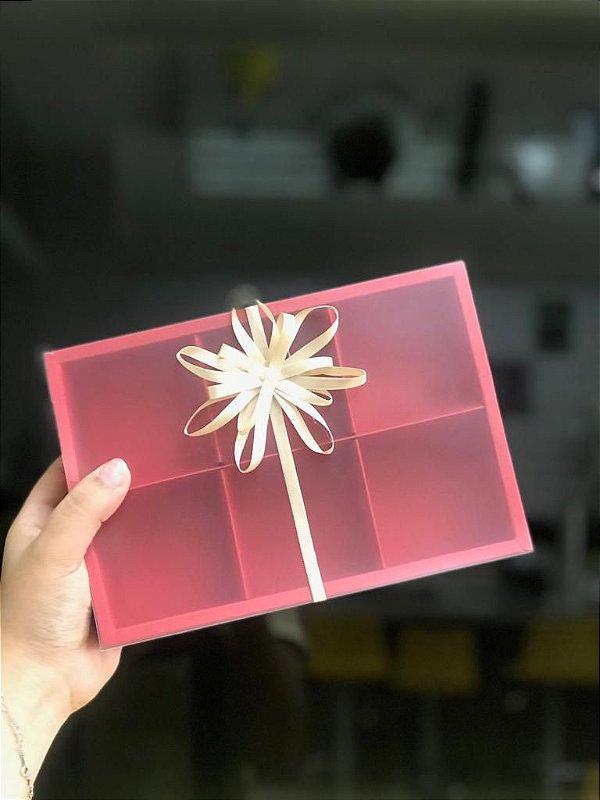 Caixa Pão de Mel 23X15,5X5 Vermelha com 6 divisões Rizzo Confeitaria