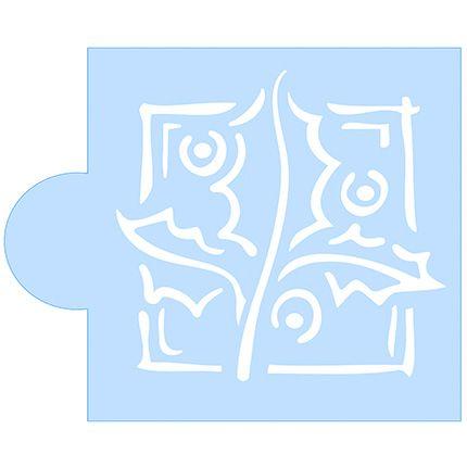 Stencil Folhas de Natal SCCN005 Litoarte Rizzo Confeitaria