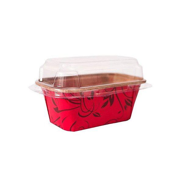 Forma Forneável p Mini Bolo Inglês Com Tampa 5 unidades P Vermelha Plumpy Ecopack Rizzo Confeitaria