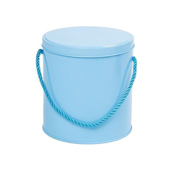 Latinha de Metal Redonda com Alça G Azul Cromus Rizzo Confeitaria