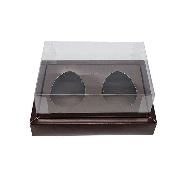 Caixa Ovo de Colher Duplo com Moldura - Meio Ovo de 100g a 150g - Marrom - 23 x 19 x 10 cm - 5 un - Assk Rizzo Confeitaria