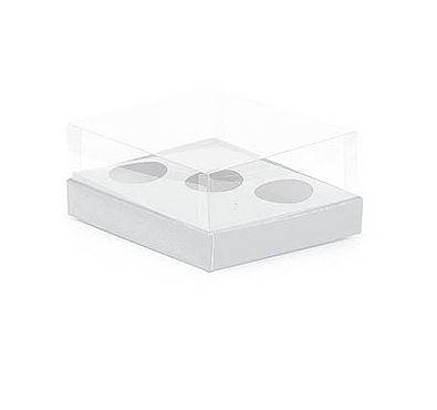 Caixa Ovo de Colher Triplo - Meio Ovo de 50g a 80g - Branco - 20,5 x 17 x 6,5 cm - 5 un - Assk Rizzo Confeitaria