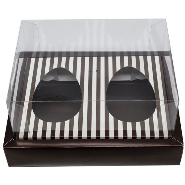 Caixa Ovo de Colher Duplo com Moldura - Meio Ovo de 100g a 150g - Marrom com Listras - 23 x 19 x 10 cm - 5 un - Assk Rizzo Confeitaria