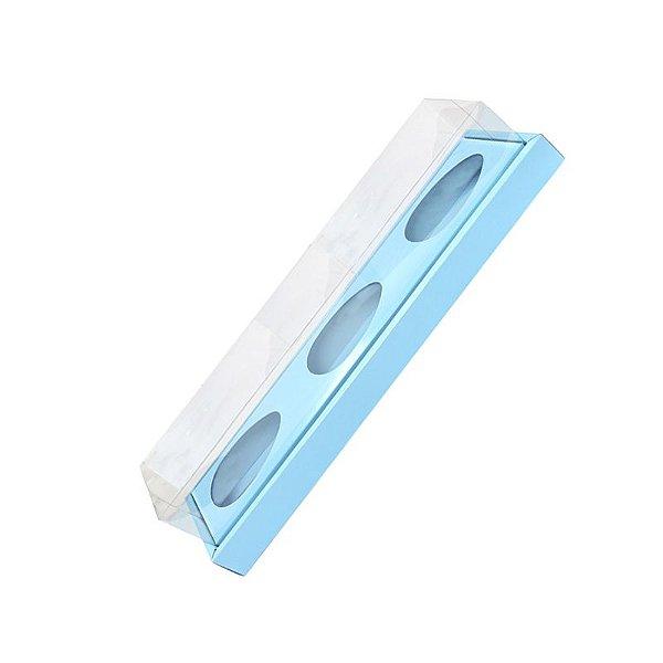 Caixa Ovo de Colher Triplo em Linha - Meio Ovo de 100g a 150g - Azul - 8,5 x 39 x 8,5 cm - 5 un - Assk Rizzo Confeitaria