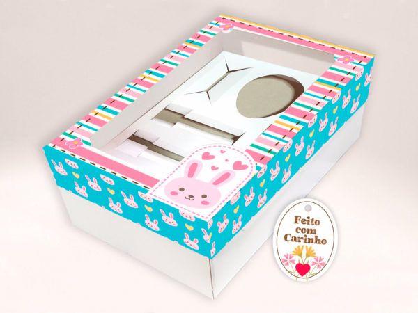 Kit Confeiteiro - Caixa Ovo de Colher Coelho Rosa Ref. 402 com 2 un. Erika Melkot Rizzo Confeitaria