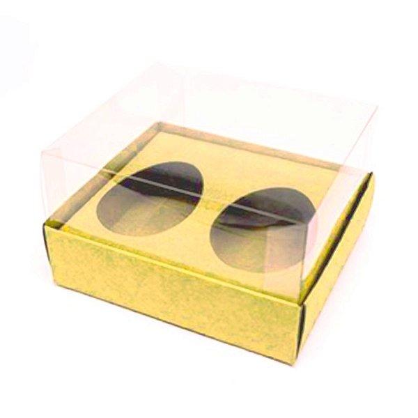 Caixa Ovo de Colher Duplo - Meio Ovo 50g - Ouro - 11 x 12,7 x 7,5 cm - 5 un - Assk Rizzo Confeitaria