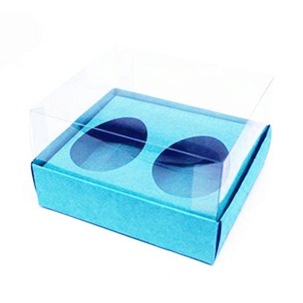 Caixa Ovo de Colher Duplo - Meio Ovo 50g - Azul Claro - 11 x 12,7 x 7,5 cm - 5 un - Assk Rizzo Confeitaria