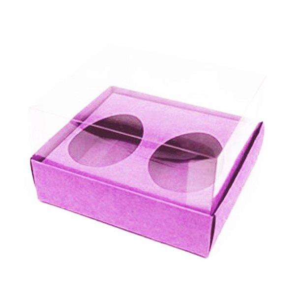 Caixa Ovo de Colher Duplo - Meio Ovo 50g - Rosa - 11 x 12,7 x 7,5 cm - 5 un - Assk Rizzo Confeitaria