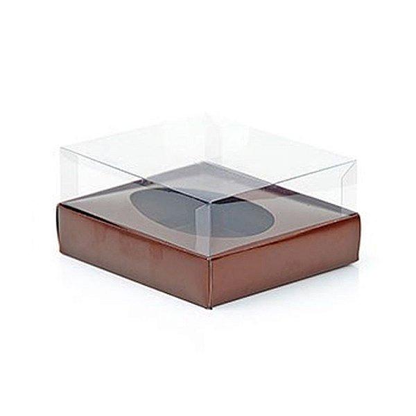 Caixa Ovo de Colher - Meio Ovo 100g a 150g - Marrom - 11 x 12,7 x 7,5 cm - 5 un - Assk Rizzo Confeitaria
