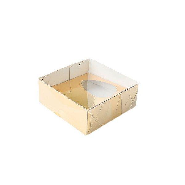 Caixa Ovo de Colher - Meio Ovo 50g - Ouro - 10 x 10 x 4 cm - 5 un - Assk Rizzo Confeitaria