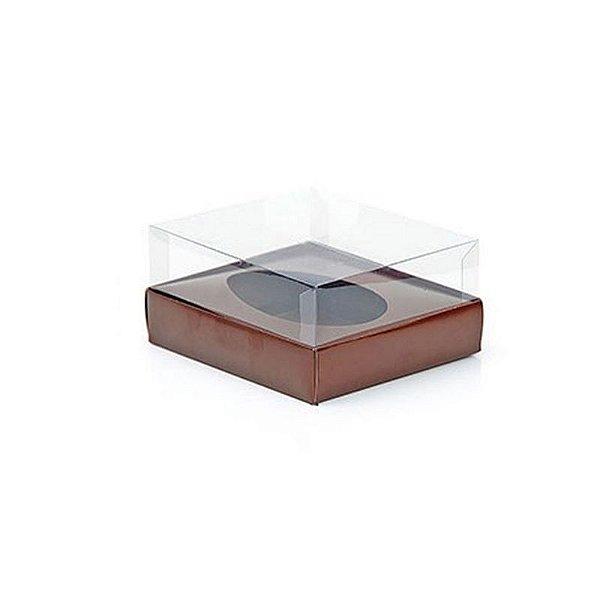 Caixa Ovo de Colher - Meio Ovo de 250g - Marrom - 15 x 13 x 6,5 cm - 5 un - Assk Rizzo Confeitaria