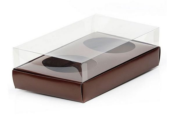 Caixa Ovo de Colher Duplo - Meio Ovo de 100g a 150g - Marrom - 20 x 13 x 8,8 cm - 5 un - Assk Rizzo Confeitaria