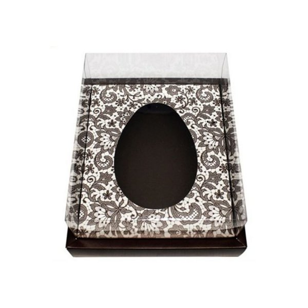 Caixa Ovo de Colher com Moldura - Meio Ovo de 350g - Marrom Arabesco - 23 x 19 x 10 cm - 5 un - Assk Rizzo Confeitaria