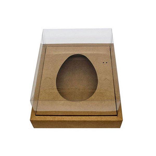 Caixa Ovo de Colher com Moldura - Meio Ovo de 350g - Kraft - 23 x 19 x 10 cm - 5 un - Assk Rizzo Confeitaria