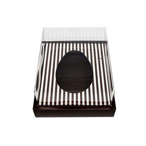 Caixa Ovo de Colher com Moldura - Meio Ovo de 500g - Marrom com Listras - 23 x 19 x 10 cm - 5un - Assk Rizzo Confeitaria