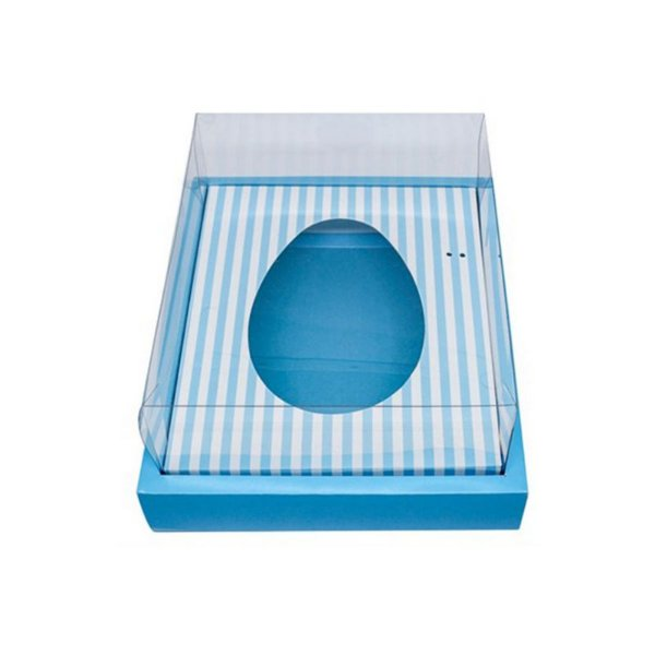Caixa Ovo de Colher com Moldura - Meio Ovo de 500g - Azul com Listras - 23 x 19 x 10 cm - 5un - Assk Rizzo Confeitaria