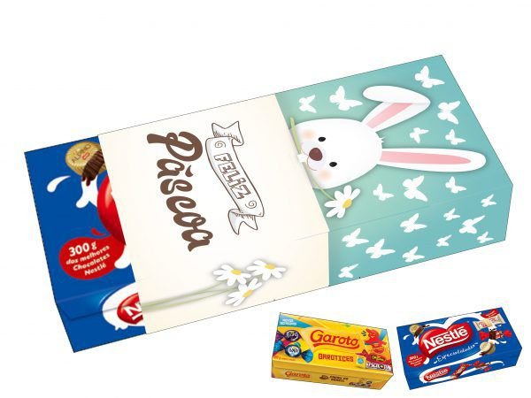 Capa Caixa de Chocolate Feliz Páscoa Ref. 864 com 3 un. Erika Melkot Rizzo Confeitaria