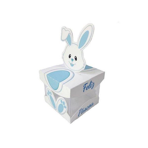 Caixa Acrílica de Páscoa Coelha Azul 5 X 5 cm Rizzo Confeitaria