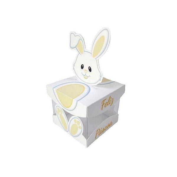 Caixa Acrílica de Páscoa Coelha Amarela 5 X 5 cm Rizzo Confeitaria